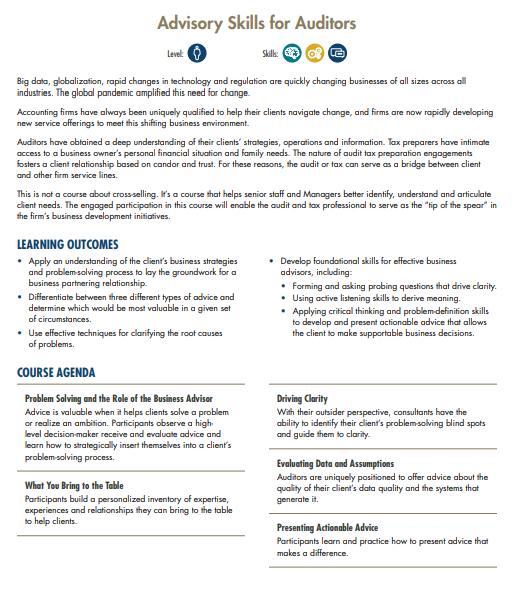 Advisory Skills For Auditors | MRA Learning