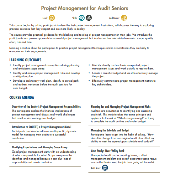 Project Managament For Audit Seniors | MRA Learning